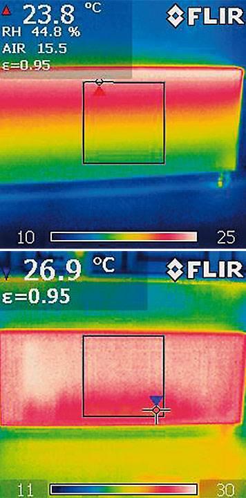 Fot. 3. Równomierny rozkład temperatury w grzejniku płytowym. Takie działanie grzejnika płytowego pozwala wykorzystać go w niskotemperaturowej instalacji grzewczej.