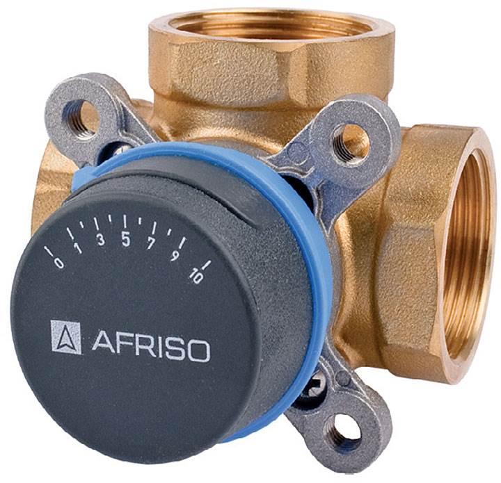 """Fot. 1. Zawory 3-drogowe ARV produkcji AFRISO, stosowane są zwykle jako zawory mieszające. Zawory zostały wykonane z mosiądzu, posiadają pokrętło do regulacji ręcznej. 3-drogowe zawory mieszające ARV są wyposażone w ograniczniki kąta obrotu, co ułatwia odpowiednią nastawę. W każdym zestawie z zaworem znajdują się dwie pokrywki ze skalą: jedna z podziałką """"od 0 do 10"""", druga z podziałką """"od 10 do 0"""". Dzięki temu zawór może pracować w różnych pozycjach montażowych. Niewielkie rozmiary ułatwiają montaż i późniejszą konserwację zaworu."""