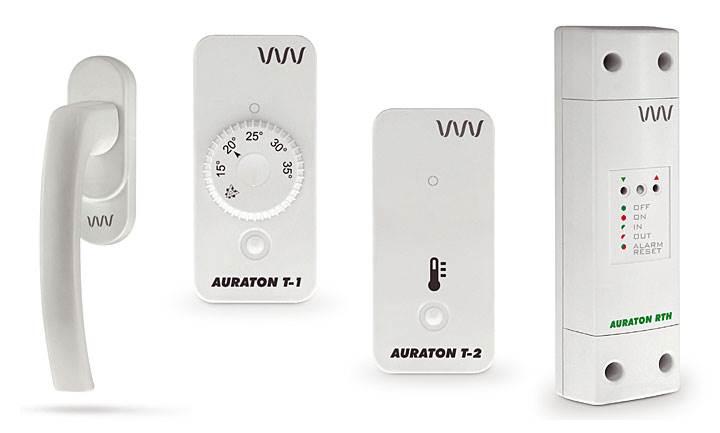 Fot. 2. Elementy systemu LMS (od lewej): energooszczędna klamka okienna AURATON H-1, bezprzewodowy regulator temperatury AURATON T-1 RTH, bezprzewodowy termometr AURATON T-2, moduł wykonawczy AURATON RTH.