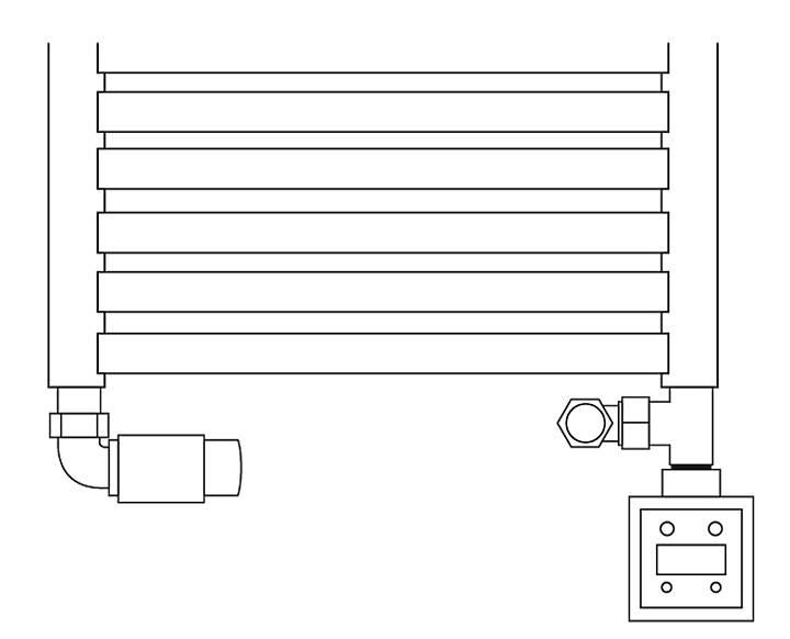 Rys. 3. Prawidłowe podłączenie grzałki - trójnik na powrocie.
