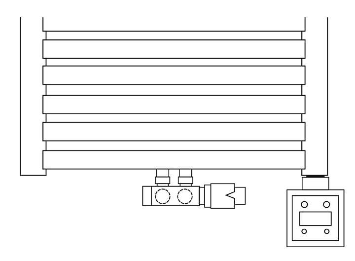 Rys. 5. Podłączenie grzałki - bezpośrednio do króćca - grzejnik 50 po osi.