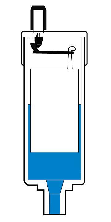 Automatyczny odpowietrznik grzejnika - przekrój automatycznego zaworu odpowietrzającego zamkniętego