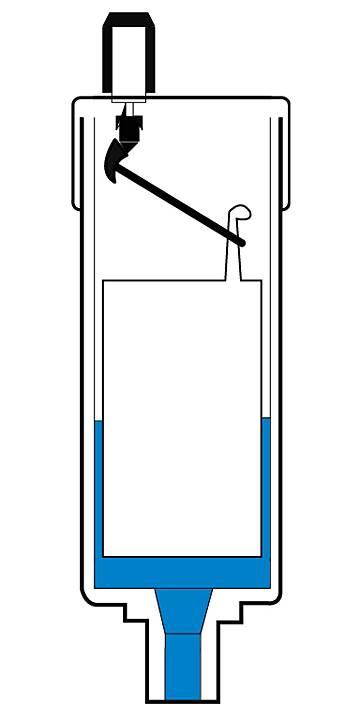 Automatyczny odpowietrznik grzejnika - przekrój automatycznego zaworu odpowietrzającego otwartego