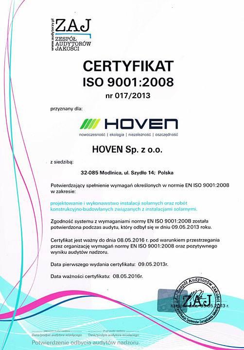 kolektory sloneczne hoven teraz z certyfikatem iso 9011 1 - Kolektory słoneczne Hoven teraz z certyfikatem ISO 9001