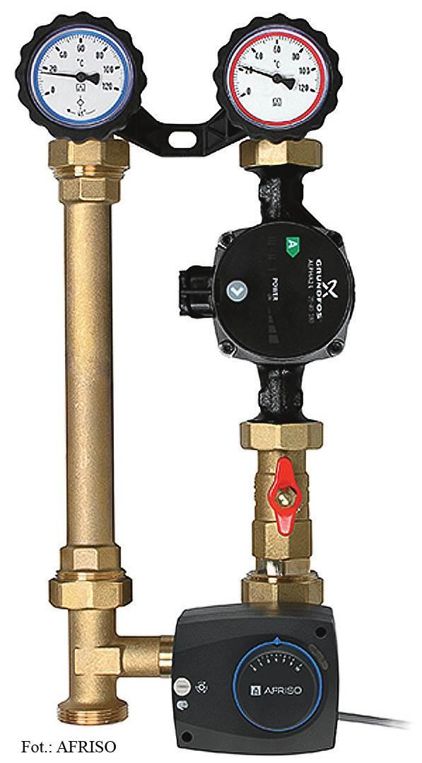 FOT. 4. Grupę pompową musimy dobrać tak, by zapewnić odpowiedni przepływ w instalacji. Wartość Kvs zaworu mieszającego musi więc pokrywać zapotrzebowanie instalacji, a wysokość podnoszenia pompy ma być odpowiednia do oporów, jakie będzie musiało pokonać medium.