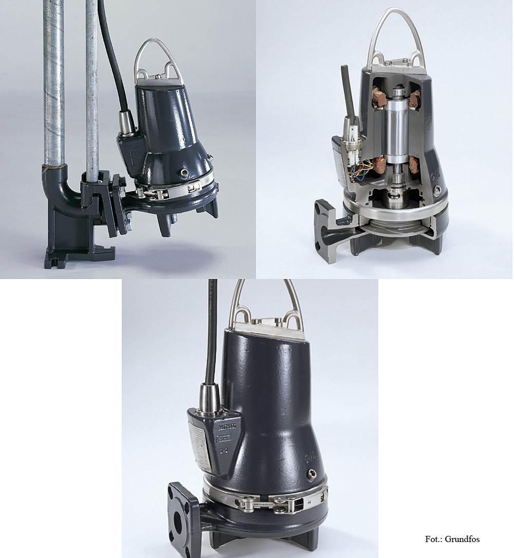 FOT. 1. W przepompowniach przydomowych stosuje się przede wszystkim pompy z nożami rozdrabniającymi, urządzenia o swobodnym przepływie oraz z wirnikiem jednokanałowym.