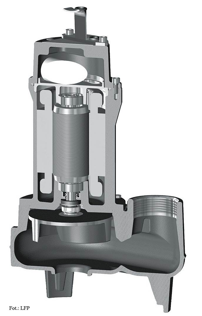 FOT. 2. Pompa do przepompowni przydomowej składa się m.in. z uchwytu, kondensatora, pokrywy silnika, łożyska, uzwojenia silnika, korpusu silnika, uszczelnienia, wirnika, króćca tłocznego i króćca ssącego.