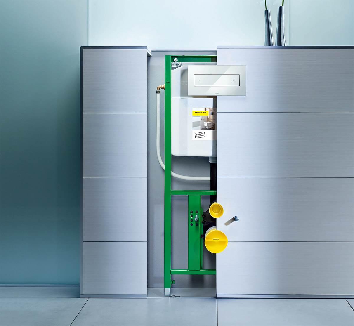 Fot. 2. Schowaną za ścianką instalację wodno-kanalizacyjną zdradzi jedynie dyskretny przycisk. Fot.: Viega