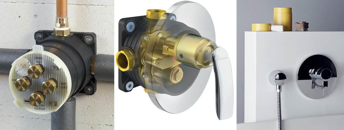 Fot. 5. Na rynku dostępne są uniwersalne moduły podtynkowe przeznaczone do wszystkich rodzajów armatur łazienkowych: z głowicą ceramiczną, z termostatem oraz z zaworem. Fot.: Kludi