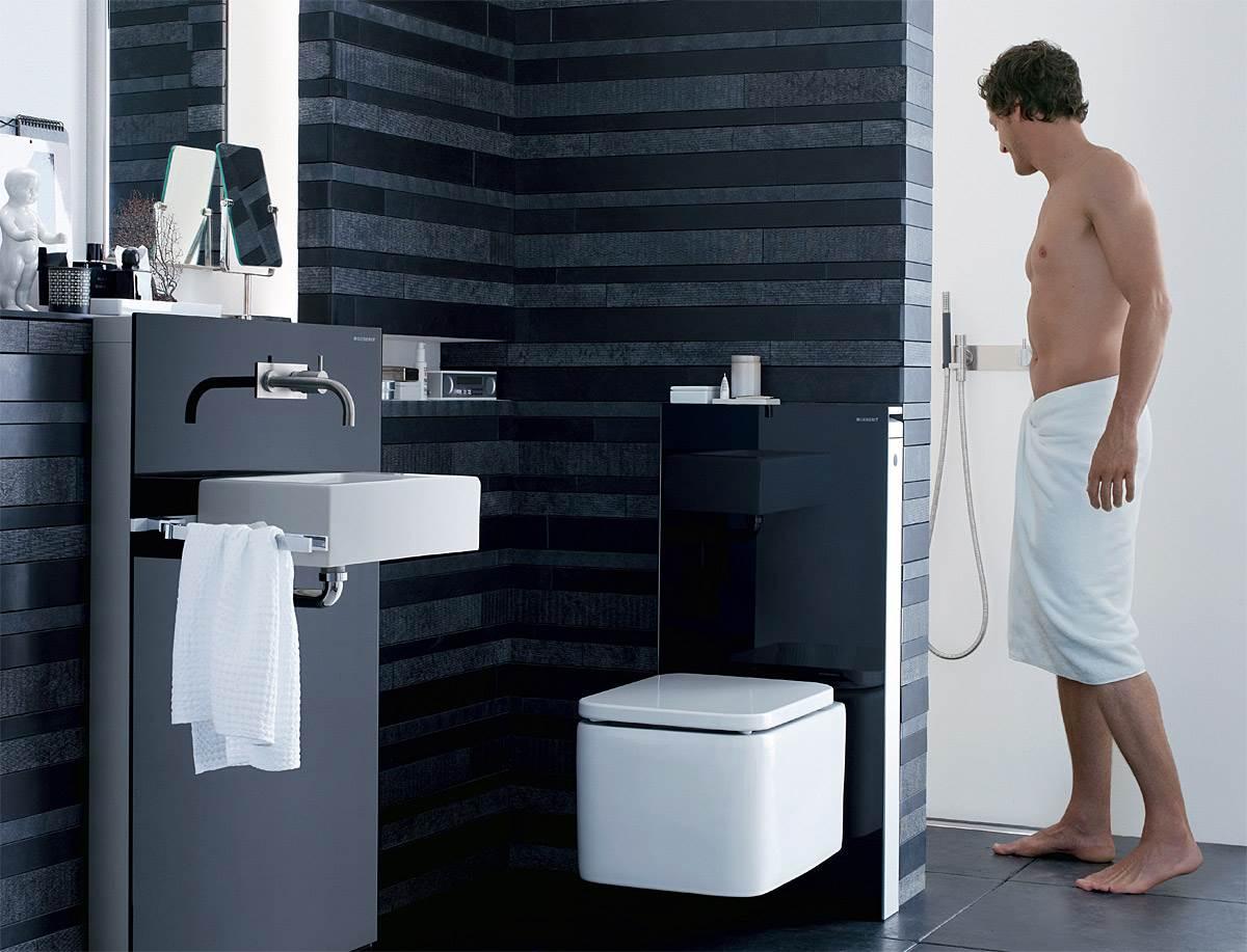 Fot. 9. Kompromisem pomiędzy zabudową podtynkową i montażem naściennym są eleganckie moduły sanitarne. Fot.: Geberit