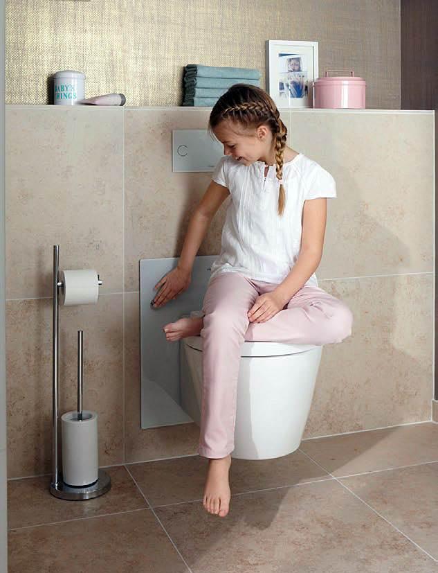 Fot. 1. Stelaż Eco Plus firmy Viega z płynną regulacją wysokości zawieszenia miski ustępowej (za pomocą jednego przycisku), pozwala wygodnie korzystać z niej zarówno dzieciom, jak i osobom starszym.