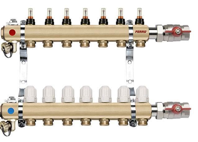 """Fot. 7. Rozdzielacz podłogowy typ RZP1"""" wyposażony w przepływomierze na belce zasilającej oraz zawory termostatyczne na belce powrotnej Fot. FERRO"""