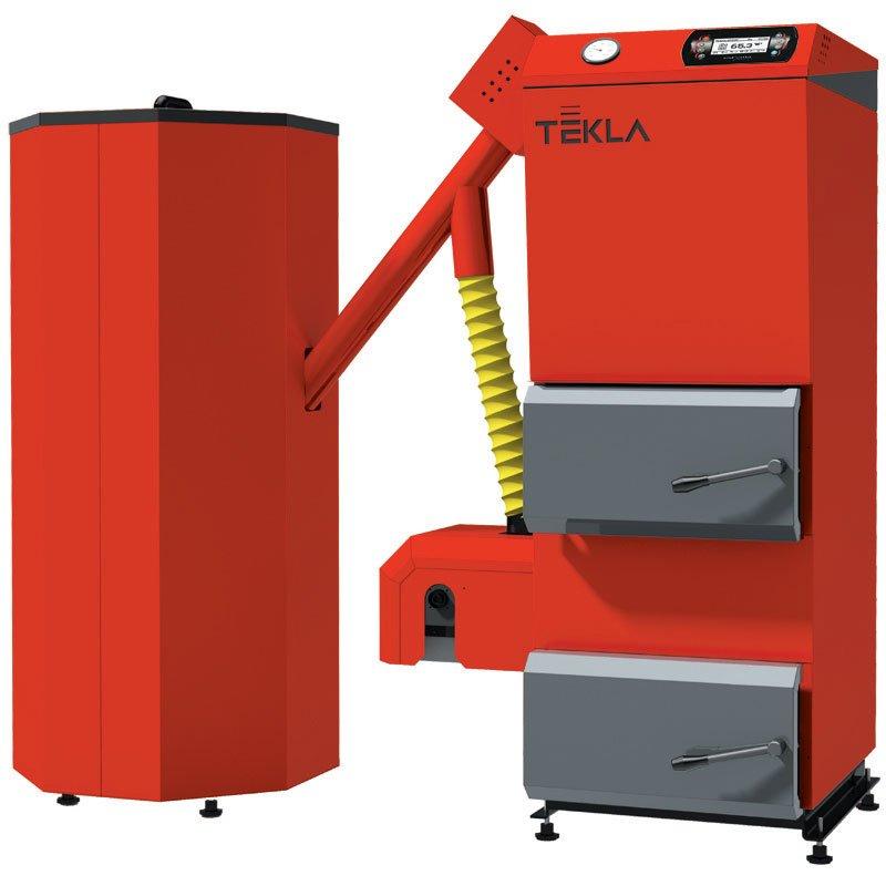 Fot. 8. Kocioł zaprojektowany z myślą o ogrzewaniu budynków mieszkalnych, w których wymiary kotłowni nie pozwalają na zainstalowanie kotła automatycznego ze zbiornikiem wolnostojącym lub zainstalowanym z boku kotła. Fot. Tekla