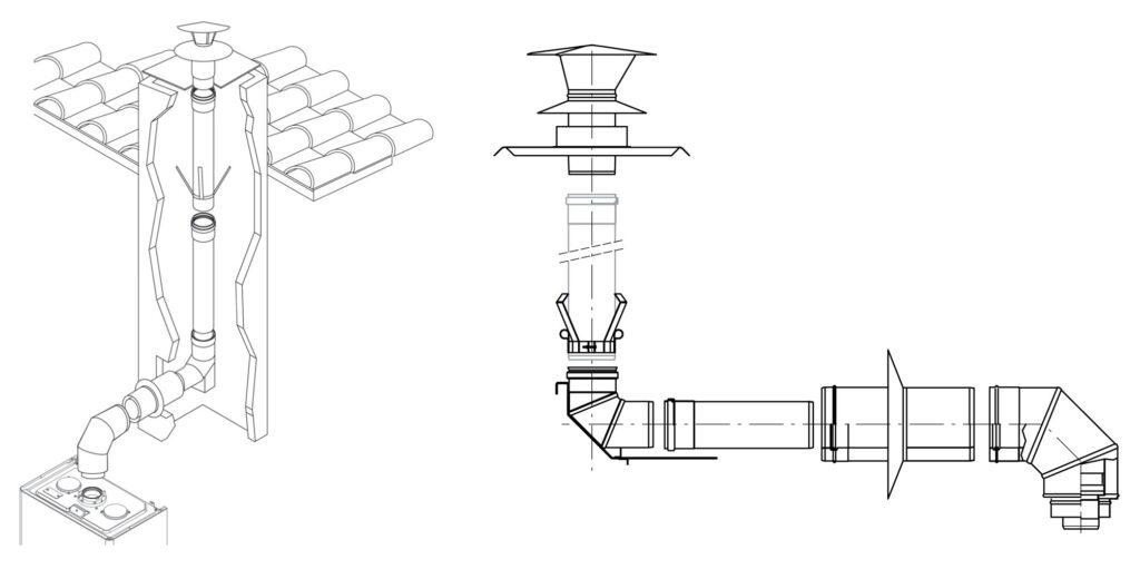Fot. 3. Rozwiązaniem, gwarantującym poprawną pracę i trwałość kotła kondensacyjnego oraz wykorzystanie istniejącego komina, jest wprowadzenie w komin już istniejący wkładu np. o średnicy fi 80 mm, który jest odporny na kondensat i jednocześnie gwarantuje jego szczelność. Fot. BERETTA