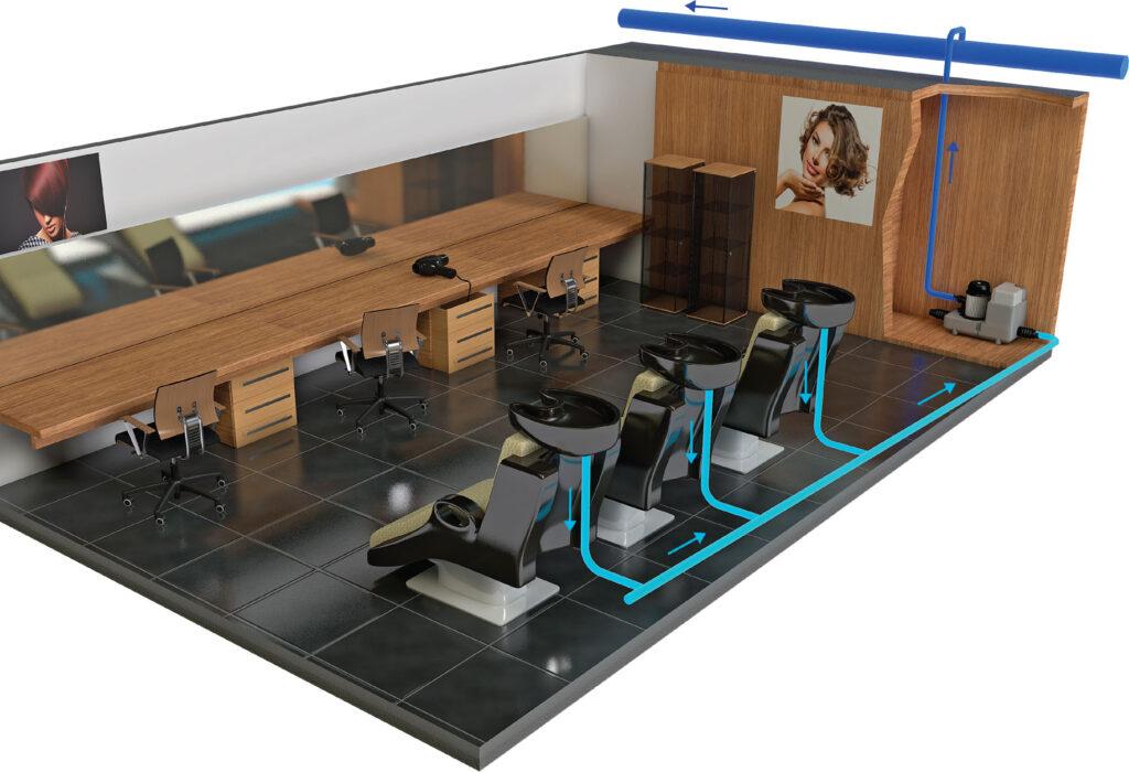 Przykład zastosowania urządzenia Sanicom 1 - zakład fryzjerski - remont pomieszczeń sanitarnych