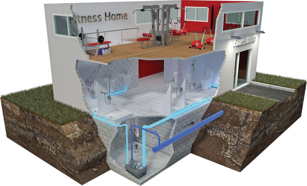 Przykład zastosowania urzadzenia Sanicubic 2 XL - Firness - remont pomieszczeń sanitarnych