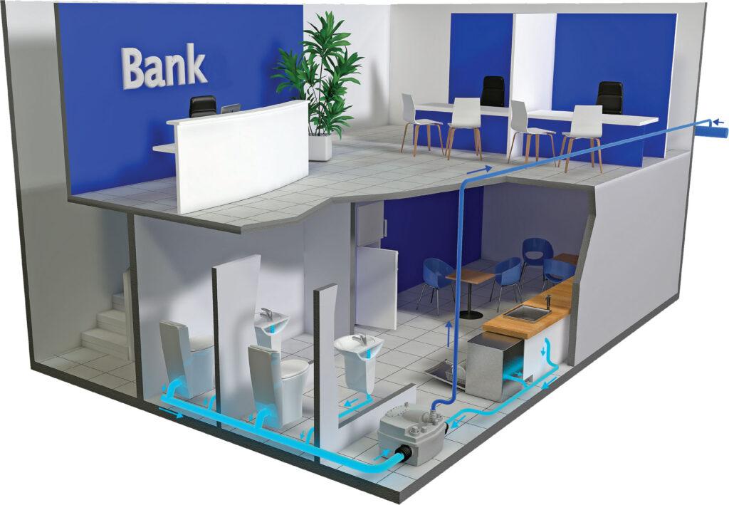 Przykład zastosowania urzadzenia Sanicubic 2 Classic - Bank - remont pomieszczeń sanitarnych