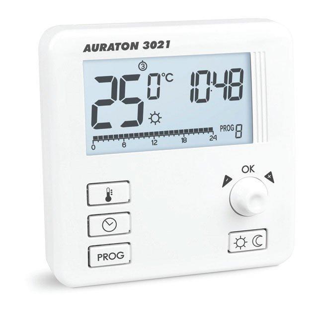 Fot. 6. Przewodowy regulator temperatury. Regulator wyposażony jest w podświetlany wyświetlacz umożliwiający zarządzanie 9 niezależnie konfi gurowanymi programami. Pozwala na ustawienie 3 temperatur – dziennej, nocnej, przeciwzamrożeniowej.
