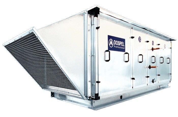 Fot. 2. Zastosowanie w centralach dachowych wymiennika ciepła umożliwia odzyskanie energii zawartej w usuwanym powietrzu. Fot. DOSPEL