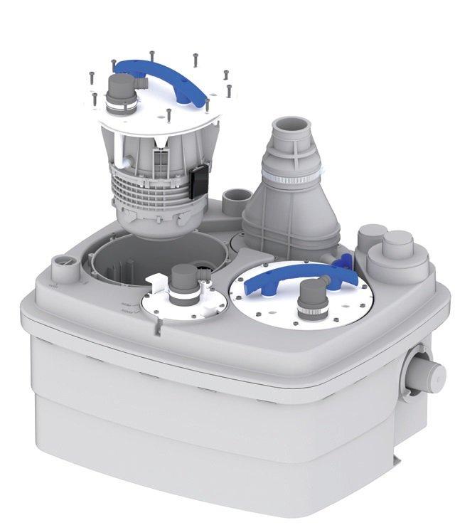 Fot. 6. Łatwa, czysta i szybka obsługa serwisowa. W nowych urzadzeniach z serii Sanicubic, wymiana silników i systemu załączania osbywa się bez konieczności odłączania elementów zbiornika.