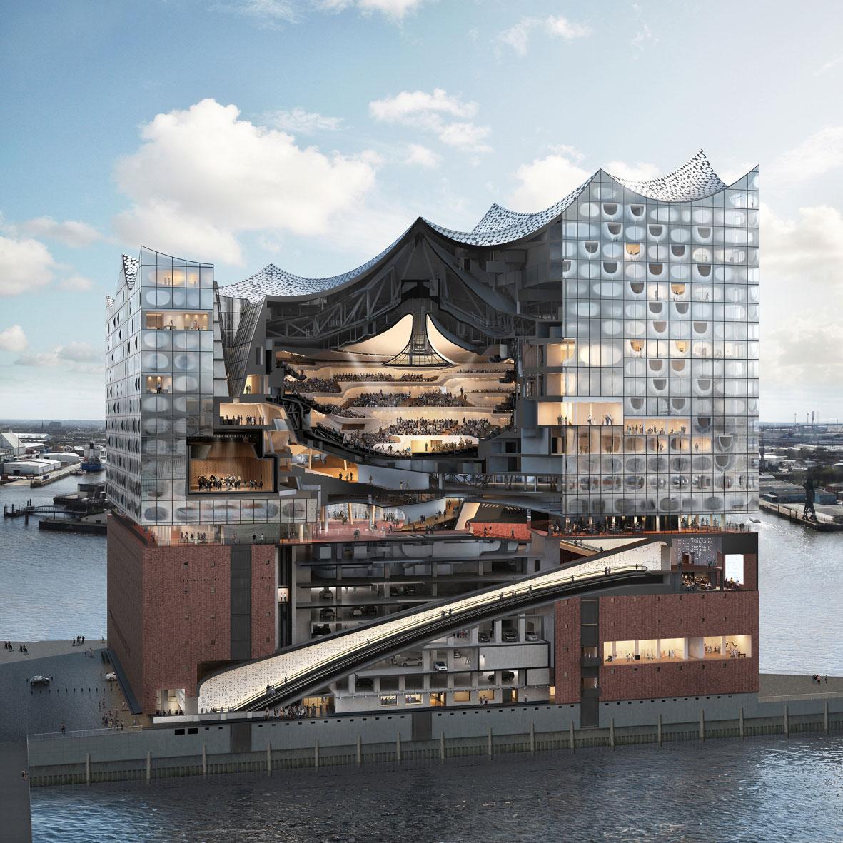 Przekrój Filharmonii nad Łabą pokazuje skomplikowaną konstrukcję tego wielofunkcyjnego budynku. Zapewnienie higieny wody użytkowej i energooszczędnego ogrzewania we wszystkich częściach obiektu było prawdziwym wyzwaniem dla projektantów i wykonawców instalacji. (Zdjęcie: Querschnittsgrafik Elbphilharmonie © Herzog & de Meuron / bloomimages)