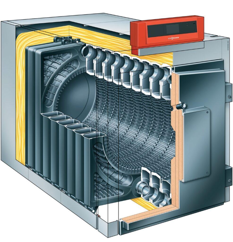 Fot. 1. Przekrój kotła olejowo/gazowego o mocy od 320 do 1080 kW. Kotły na olej opałowy. Fot. VIESSMANN