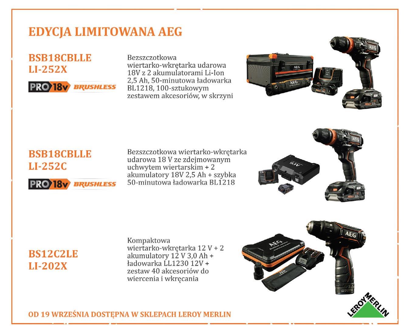 Z okazji 120-lecia marka AEG wypuściła na rynek limitowaną edycję narzędzi, która od 19 września będzie dostępna w ofercie sklepów Leroy Merlin.