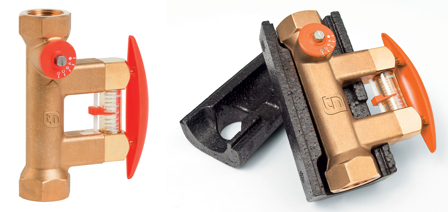Zawór równoważący TacoSetter Bypass Solar 130. Po prawej z dołączoną skrzynką izolacyjną.