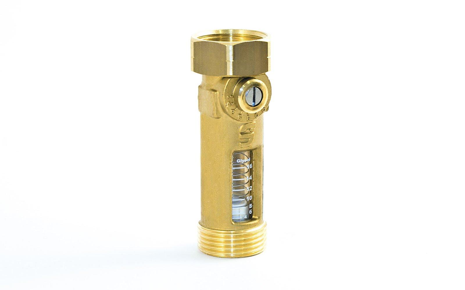 Fot. Sprawdzony zawór równoważący TacoSetter Inline 130 pozwala na regulację natężenia przepływu w l/min. Proces jest łatwy do kontrolowania dzięki pływakowi i szkiełku ze skalą. Odporność na temperaturę do 130 °C umożliwia zastosowanie zaworu w instalacjach solarno-termicznych. Dla tego typu instalacji dostępne jest też szkiełko ze skalą do obiegu glikolowego. Kolejna, nowa wersja TacoSetter 130 w wymiarze DN 25 z obustronnym gwintem zewnętrznym, pozwala na zastosowanie produktu przy natężeniu przepływu w przedziale od 20 do 70 l/min.