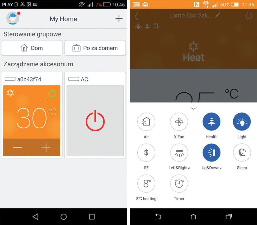 Fot. 3. Interfejs aplikacji sterowania urządzeniami przez WiFi – Gree+.