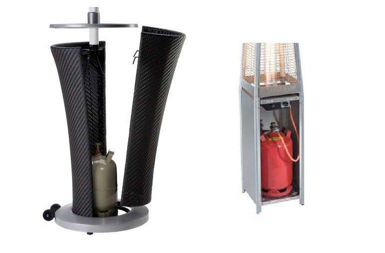 Podłączone butle gazowe często chowane są w konstrukcji parasola grzewczego