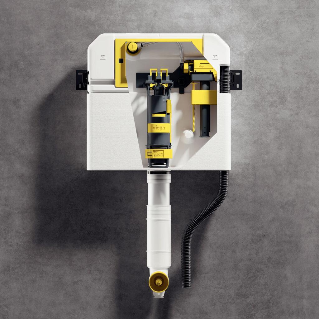 Na przykładzie spłuczki Prevista wyraźnie widać koncepcję ułatwienia fachowcom montażu poprzez funkcjonalną kolorystykę zastosowaną w nowym systemie. Wszystkie elementy ruchome i montowane ręcznie, są w kolorze żółtym. (Zdjęcie: Viega)
