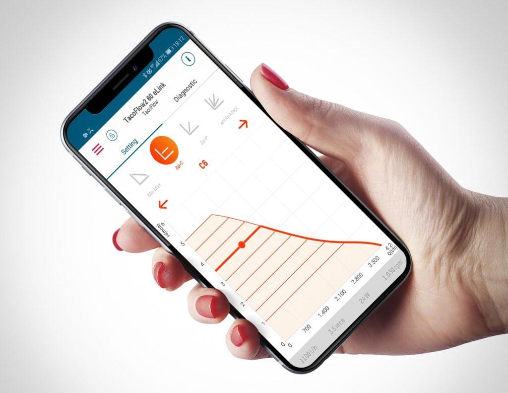 Przejrzysta aplikacja eLink umożliwia ustawianie nowych krzywych ciśnienia proporcjonalnego i stałego dla pompy TacoFlow2 eLink bezpośrednio na ekranie dotykowym. Fot. Taconova